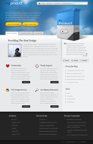ET myproduct wordpress theme
