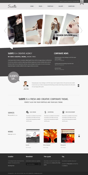 Suerte Premium Corporate Portfolio WP theme