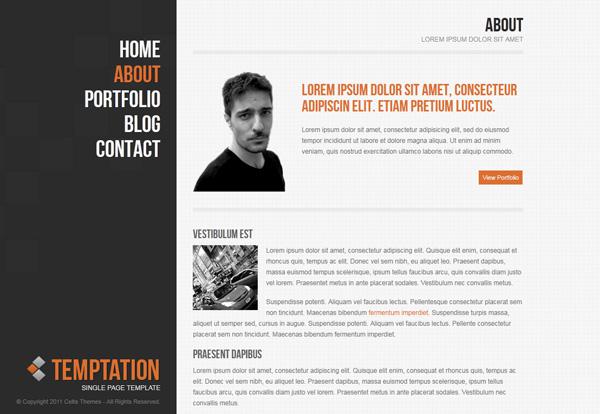 temptation single page wordpress theme