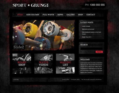 Sport and Grunge WordPress Shop & Newsletter
