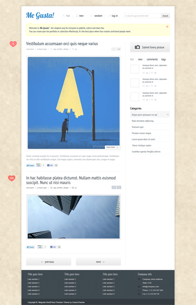 Megusta wordpress theme