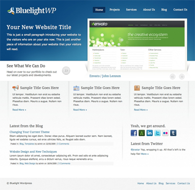 Bluelight WordPress 2.0 Portfolio and Blog