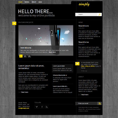 XHTML-CSS Simply Template 4 Skins