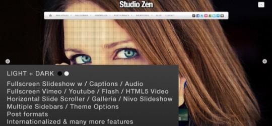 Studio Zen Fullscreen Portfolio WordPress Theme