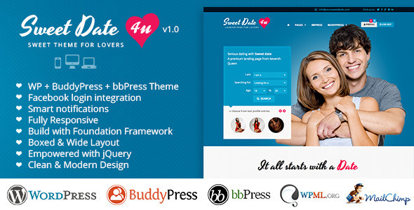Sweet Date - Premium Wordpress Theme for Lovers