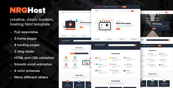 NRGhost - Flat Responsive Hosting Template