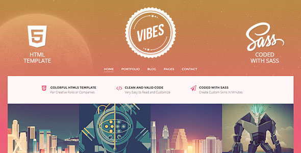 Vibes - Colorful Compact Portfolio (HTML)