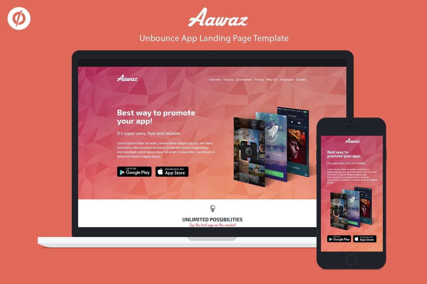 unbounce app landing page template aawaz weidea. Black Bedroom Furniture Sets. Home Design Ideas