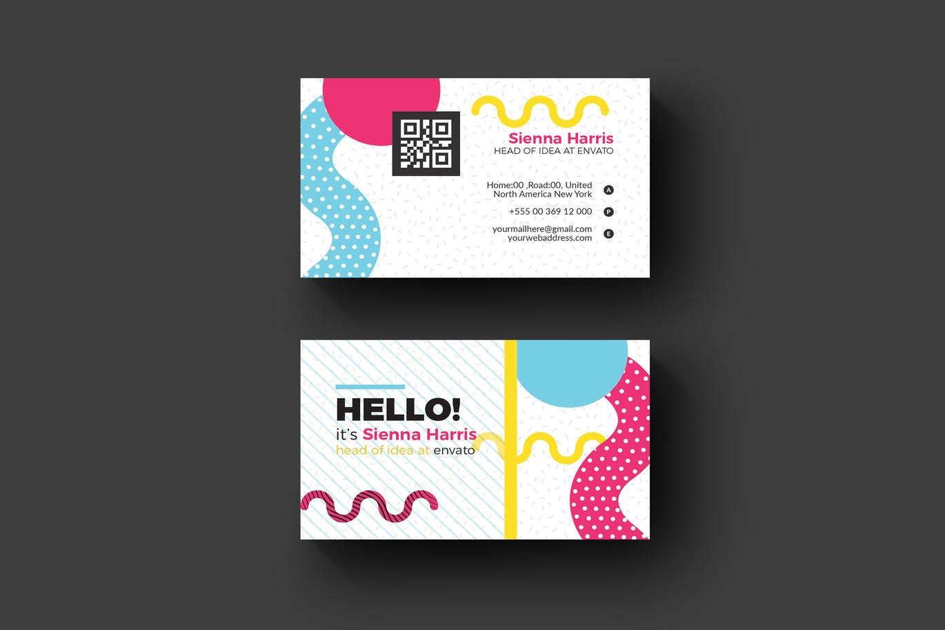 Memphis business card 2 weidea a beautiful professional well decorated multi purpose business card perfect for your next project and any brand identity colourmoves