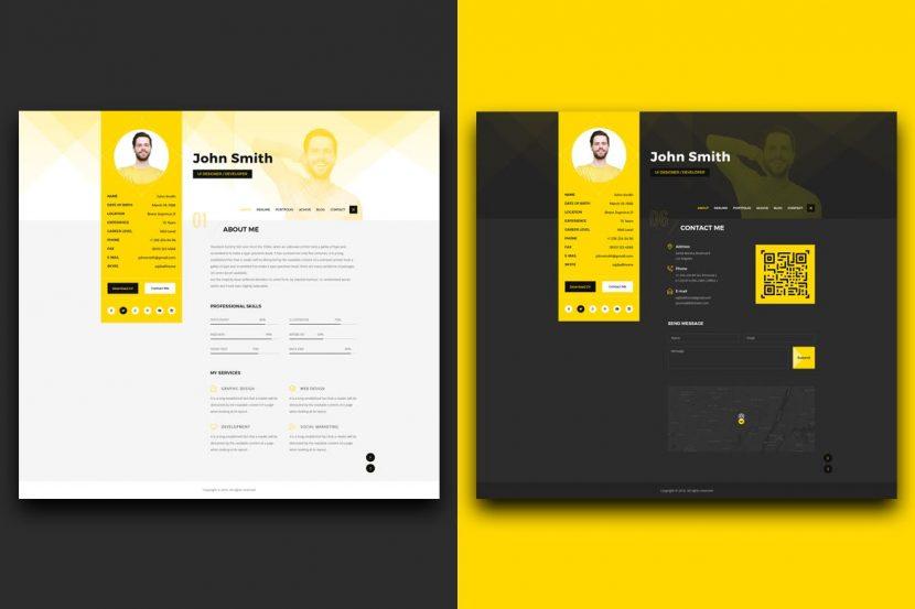 Resume Cv Vcard Portfolio Psd Template Weidea