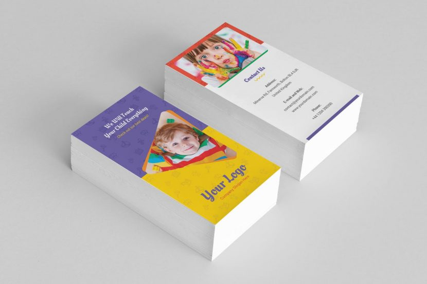 Business card kindergarten vertical weidea usiness card template for many applications you can easily edit and adapt to your business as well as kindergarten kids child birthday birthday party reheart Gallery