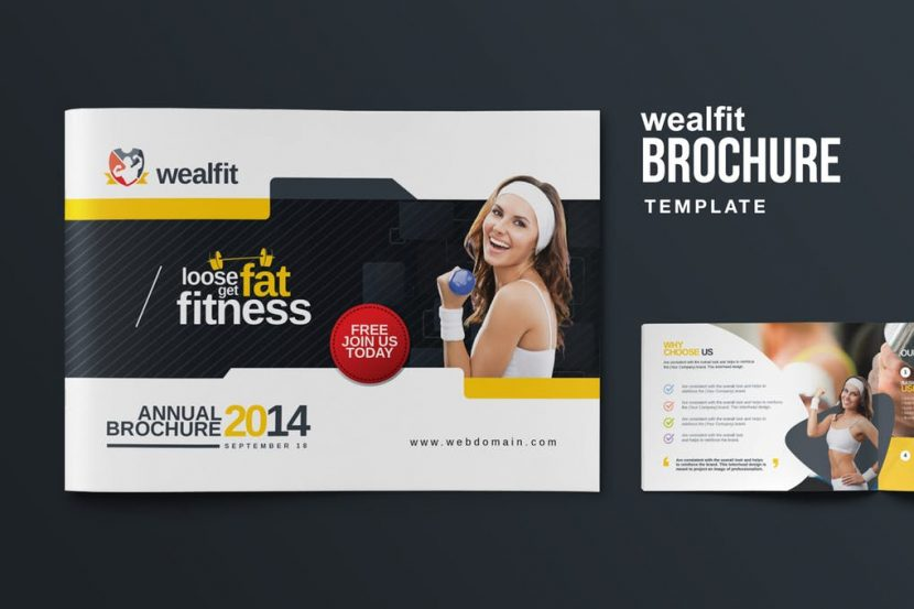 Fitness  Gym Landscape Brochure  Weidea