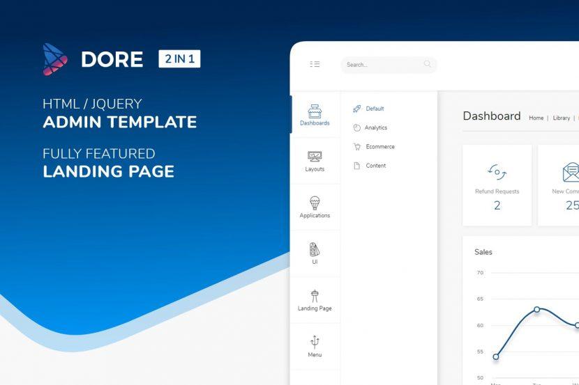 Dore Html Jquery Admin Template Landing Page Weidea
