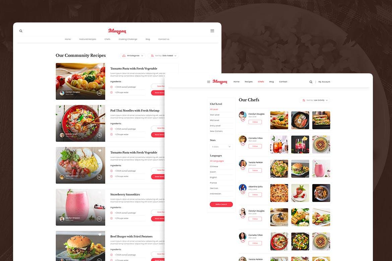 Mangan – Food Recipe Sharing PSD Template | weidea