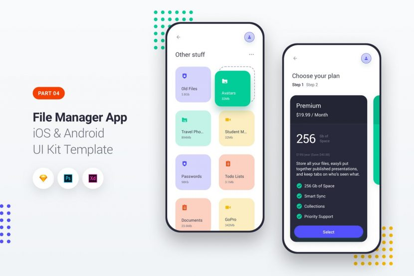 File Manager App iOS & Android UI Kit Template 4 | weidea