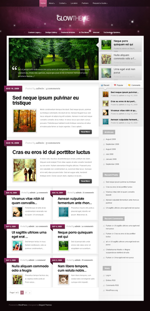 Glow Theme for WordPress weblog