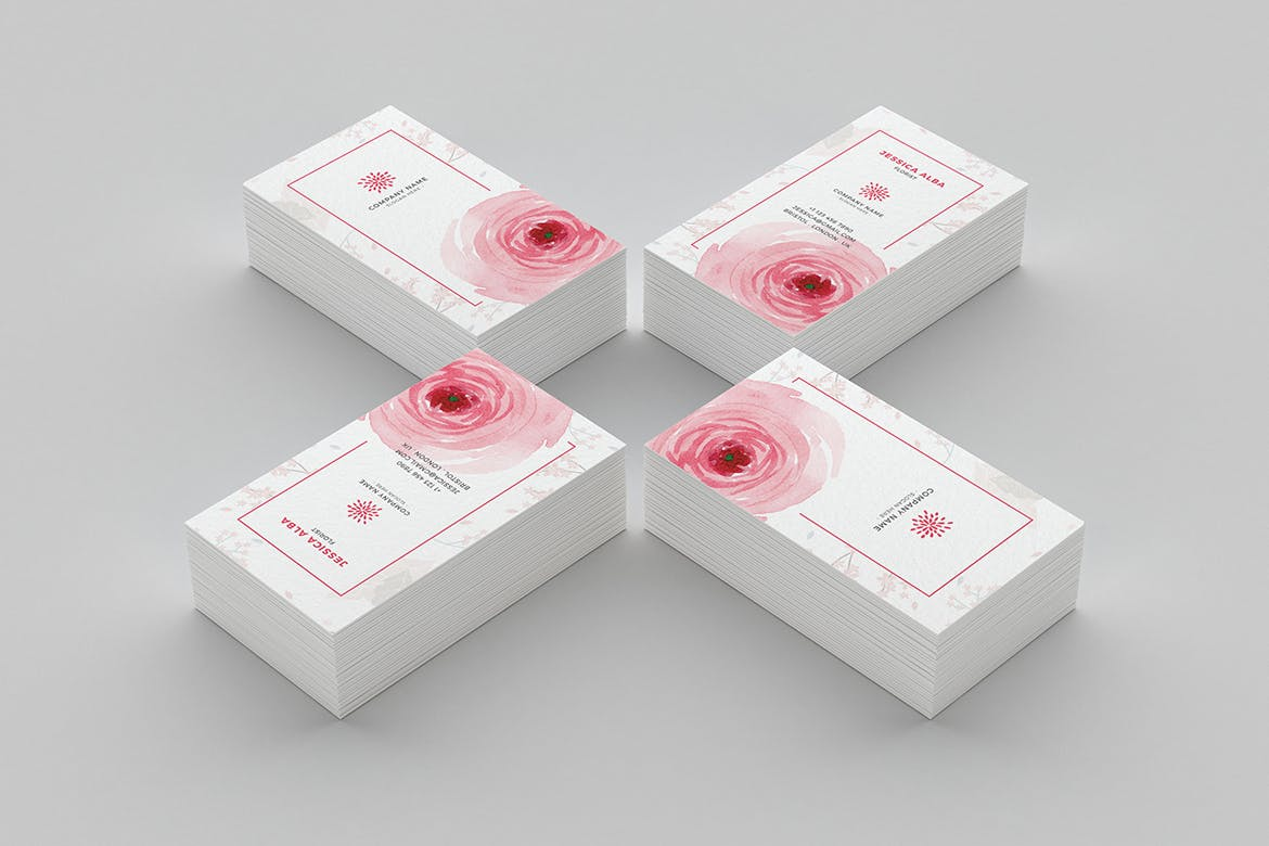 Floral business card weidea modern simple and unique layouts with strong typography make your business cards look professional its available in front and rear portrait format reheart