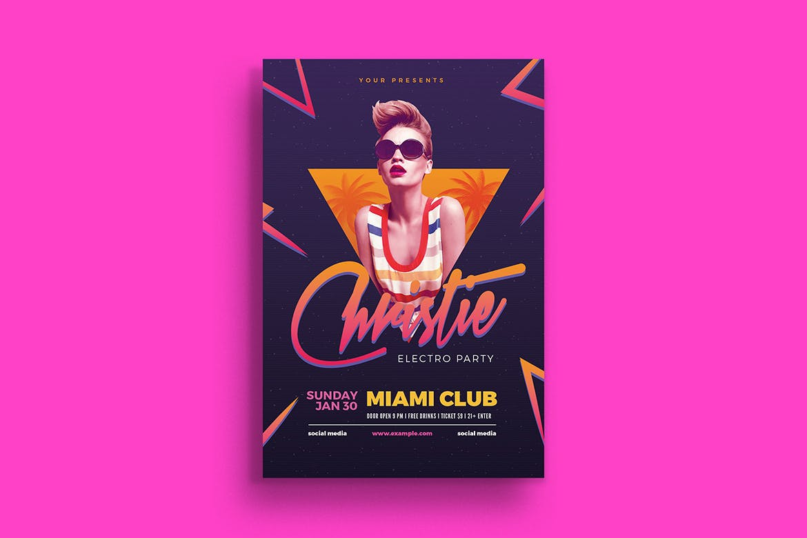Electro 80's DJ Party Flyer | weidea