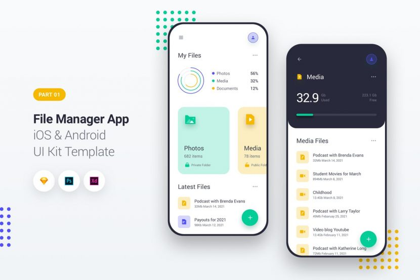 File Manager App iOS & Android UI Kit Template 1 | weidea