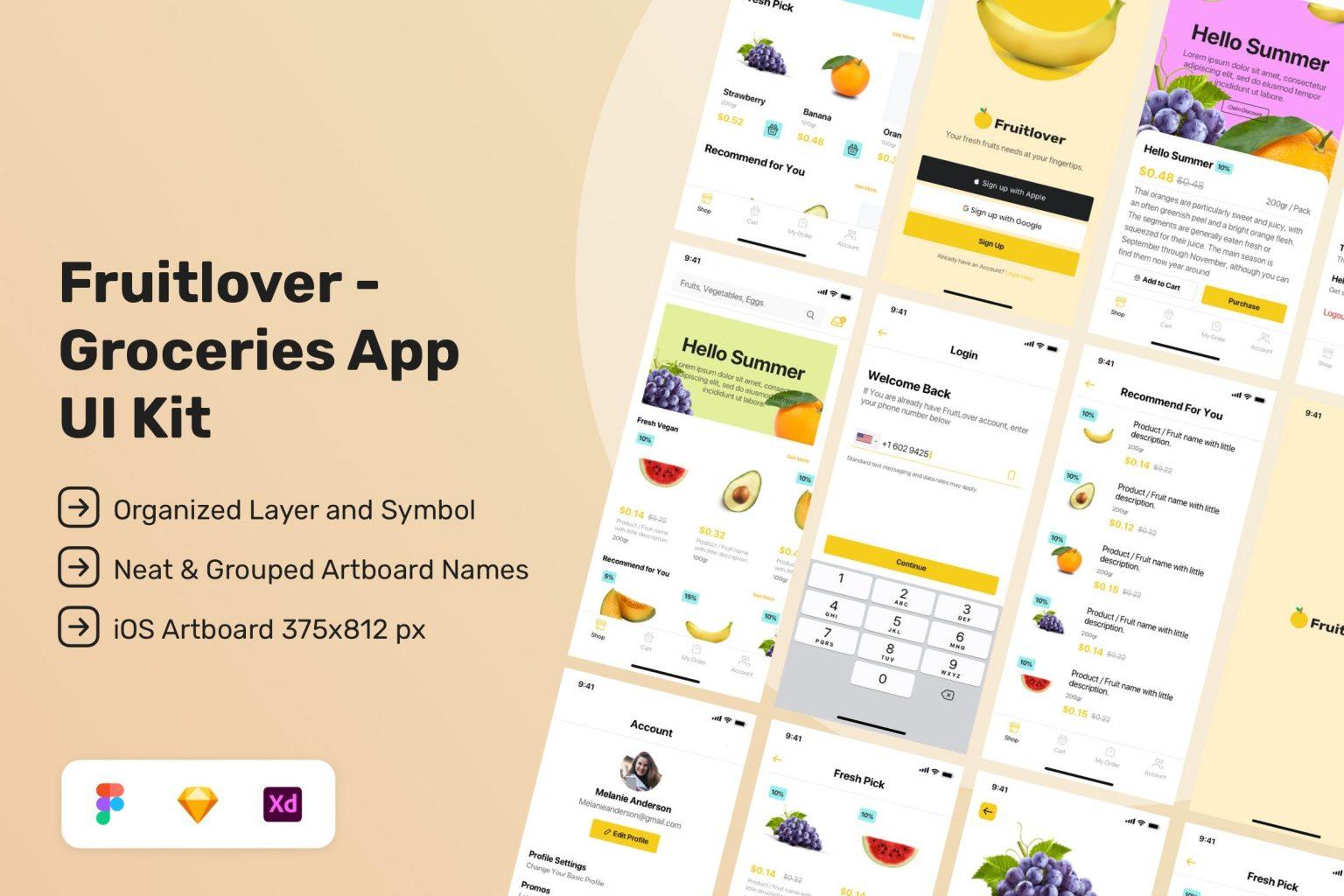 Fruitlover – Groceries App UI Kit